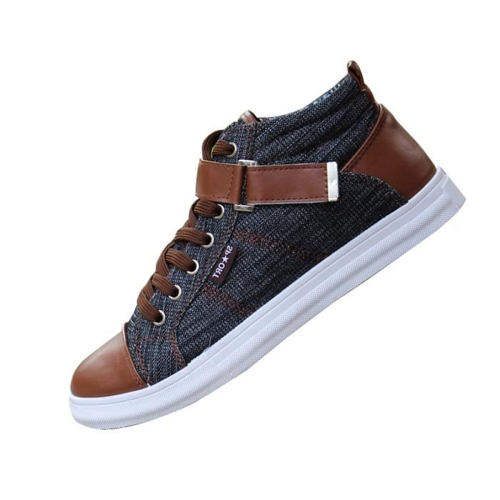 Chaussures Toile Hommes Fashion Printemps a Ete Conleur Jeans En Decontractees Montantes Lacets Baskets wXpaqgx