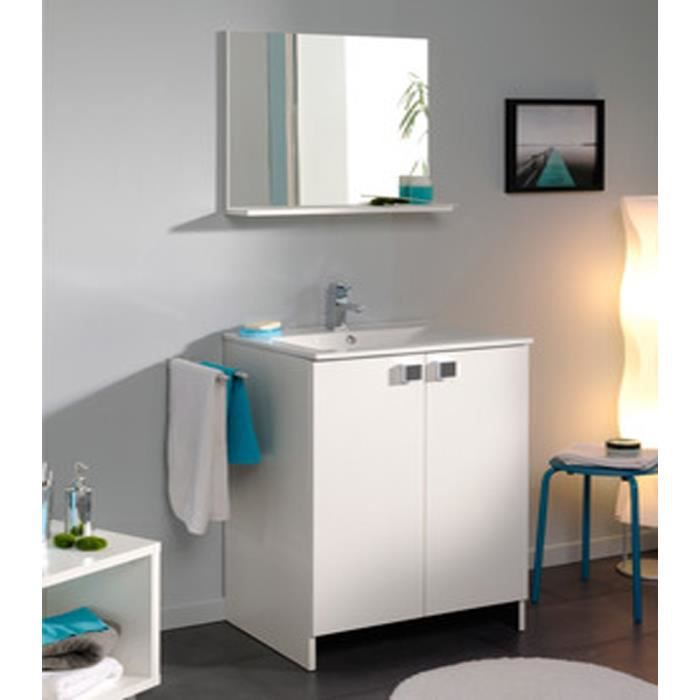 meuble sous vasque avec 2 portes coloris blanc l 61 x p 46 x h 90 cm achat vente meuble bas. Black Bedroom Furniture Sets. Home Design Ideas