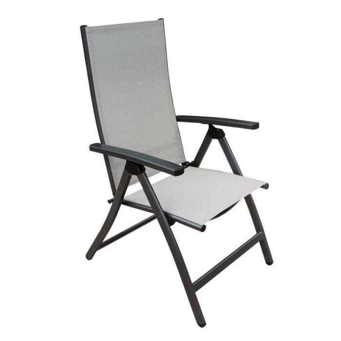 Ensemble table et chaise de jardin Fauteuil multi-positions Textilène/Aluminium Gris