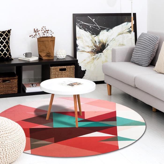 Tapis Rond De Salon Chambre Table Impression De Triangle Style Moderne Simple Velours De Cristal Rouge Diametre 160cm
