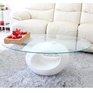 TABLE BASSE Table basse blanche design en verre OVUS