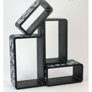 CASIER POUR MEUBLE Lot de 4 étagères cubes murale rangement noir avec