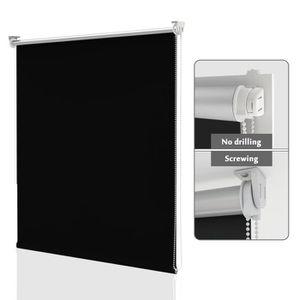 HOMEDEMO Store Enrouleur Store Jour Nuit de Double Tissu 40 x 150 cm Blanc Facile /à Installer avec Clips pour Fen/être ou Porte /à Fixer sans Per/çage ni Forage avec Clips