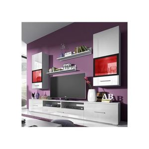 meuble tv blanc laque mural achat vente meuble tv blanc laque mural pas cher cdiscount. Black Bedroom Furniture Sets. Home Design Ideas