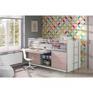 LIT COMBINE  Lit combiné avec bureau rose 90x200 - Terre de nui