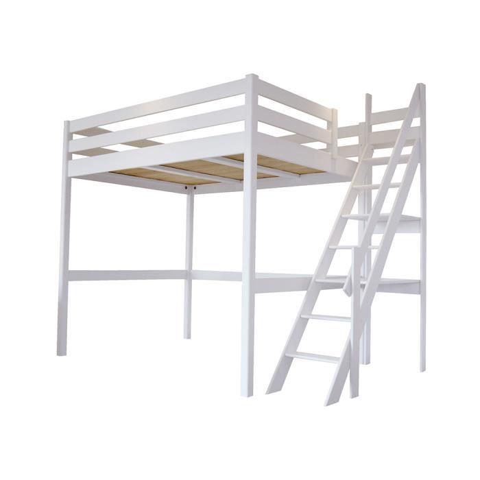 Lit Mezzanine Sylvia avec escalier de meunier bois - Couleur - Blanc, Dimensions - 120x200