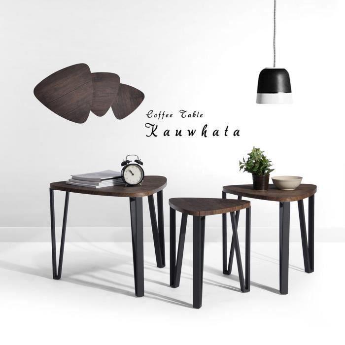 Aingoo Table basse gigogne - Pied en métal noir - Style industriel