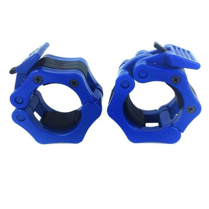 yumyumis® 50 mm Une paire de verrouillage mâchoire Colliers olympique Haltères Muscle Clamp Bar Barbell Boucle bleu_3394