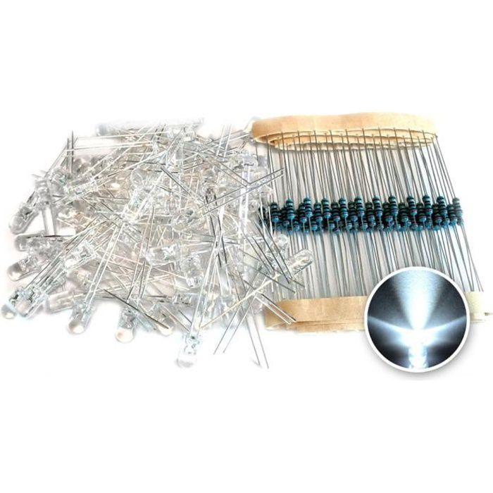 5mm LED lumière blanche Diode + Resistor 100Pcs en 1 Set