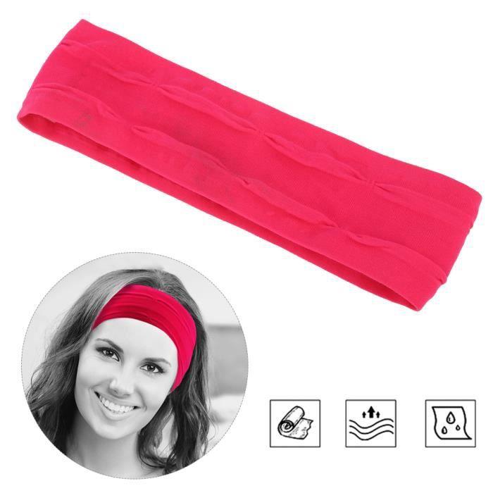 Bandeaux Élastiques de Sport Bandes Anti-Transpiration Bandeaux pour Yoga Course Fitness Accessoires de Gym(Rose rouge )-FAS