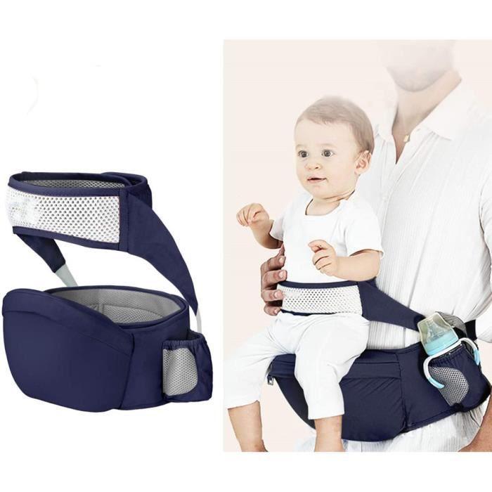 Porte bébé Ventral,Ergonomique Tabouret Siège de Hanche avec Protection de Ceinture de Sécurité de 6 à 36 Mois (bleu)