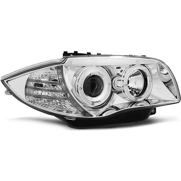 Paire de feux phares BMW serie 1 E87 / E81 04-11 angel eyes chrome