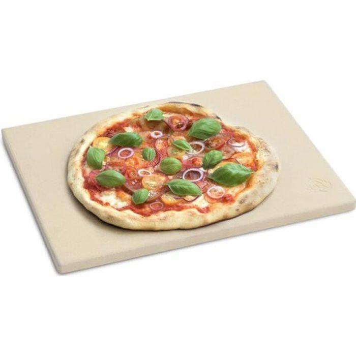 Pierre à Pizza pour Four et Barbecue, Cordierit, adapté au Pain et Pizza, beige, 38 x 30 x 1.5 cm