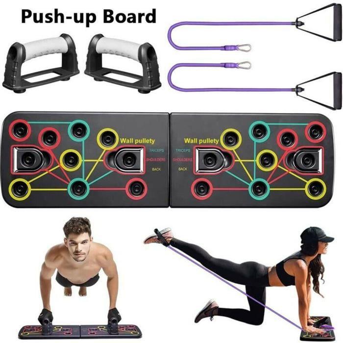 Support de Push-up avec Bande de Résistance et Bande Élastique, Push Up Board multifonction Équipement d'Entrainement de fitness