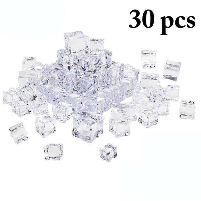 Faux glaçons réutilisables 30mm 30 pièces - Cubes en cristal acrylique artificiel, décor de réception - Modèle: 20mm - JBZXGA01456