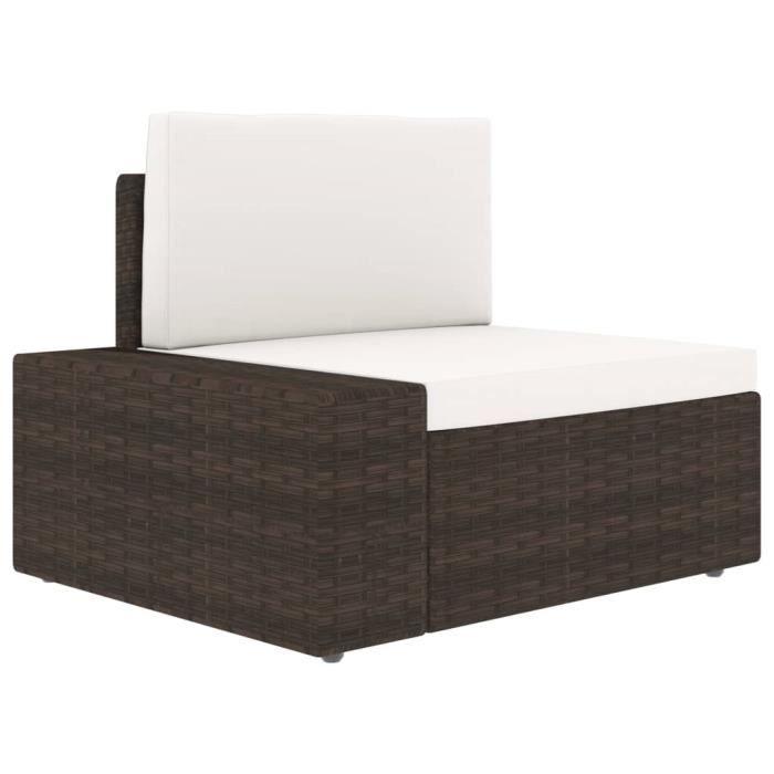 Canapé d'angle sectionnel Confortable- Contemporain Salon de jardin accoudoir droit Résine tressée Marron