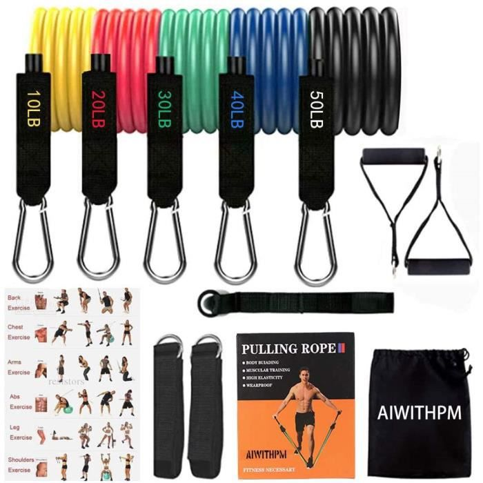 Bandes de R&eacutesistance Set 150LB Fitness elastique poids musculation Bandes Latex Naturel exercice entra&icircnement Yoga,P17