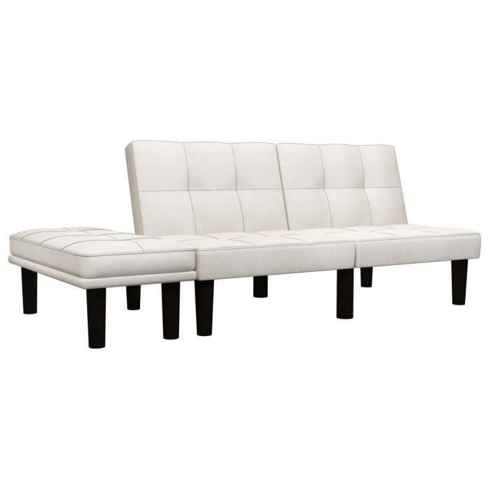 Canapé d'angle convertible réversible 3 places - Tissu crème - Contemporain - 133 x 73 x 71 cm