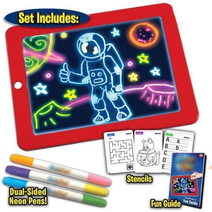 3D Magic LED Conseil d'écriture,Art Creative Pad Pad avec Un Pinceau de Dessin, Hi-Tech Portable Planche à Dessin pour Les Enfants