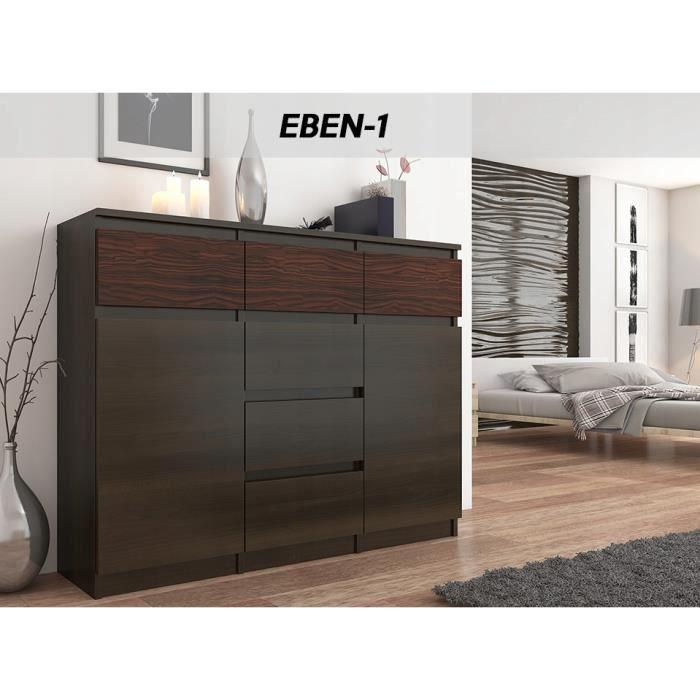 MONACO 1W - Commode contemporaine meuble rangement chambre/salon - 120x40x98 - 6 tiroirs coullisants + 2 portes - Buffet séjour -