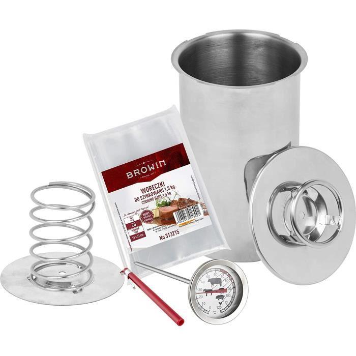 Cuiseur à jambon en acier inoxydable pour faire soi-même soi-même - 1,5 kg - Argenté - Kit avec thermomètre à viande pour cuisiner e