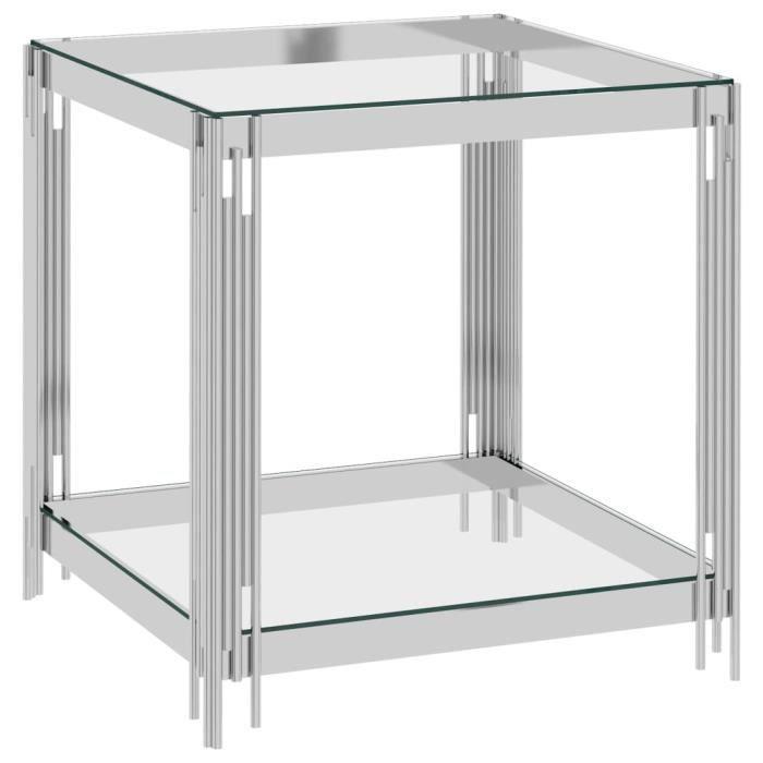 YUMAIL Table basse Argenté 55x55x55 cm Acier inoxydable et verre