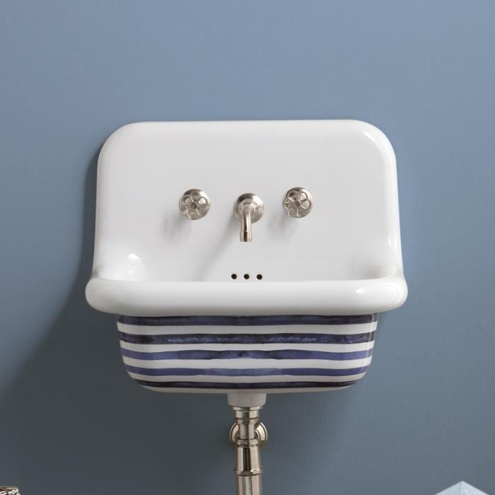Vasque rétro en céramique 60 cm -True Colors - Stripes Blanc