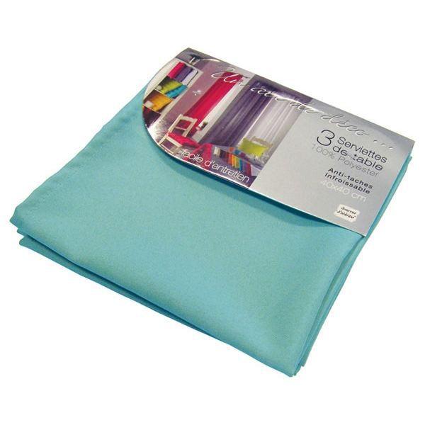 3 serviettes de table ESSENTIEL bleu turquoise