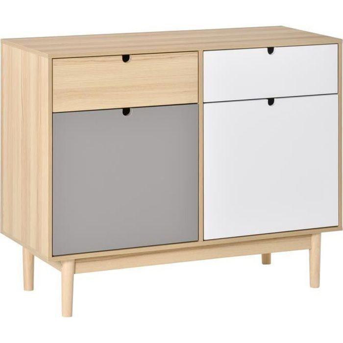 Buffet design scandinave 2 placards tiroirs coulissants MDF multicolore blanc gris bois clair