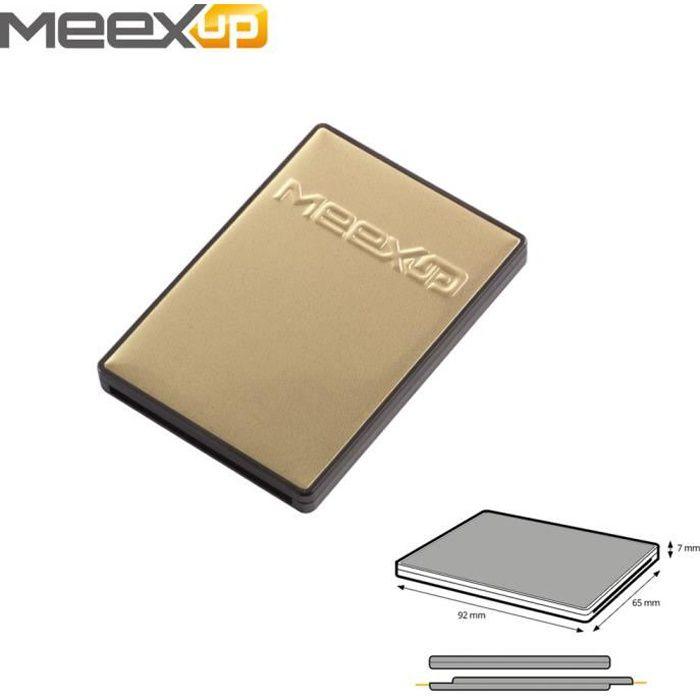 Etui 2 Cartes MeexUp RFID - Porte Carte Rigide anti piratage CB - Or et Noir