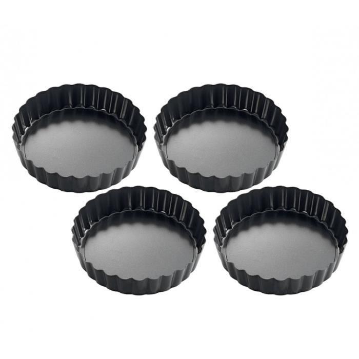 Küchenprofi 810011004 Moule à tartelettes Métal Noir 12 x 12 x 5 cm 4 pièces, en emballage cadeau