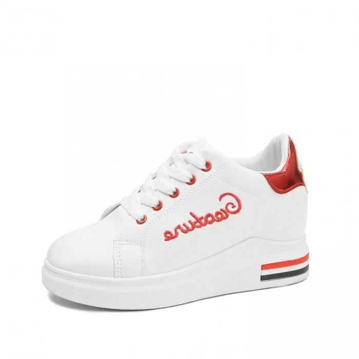 Baskets Compensées Femmes Wedge Heel Marche Running Chaussures  Jogging Gym Mid-Top Sport Running Cuir Lacets Rouge