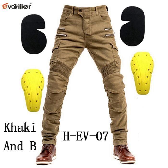 Pantalon de motocross à poche zippée Homme Moto Jeans Équipement de protection