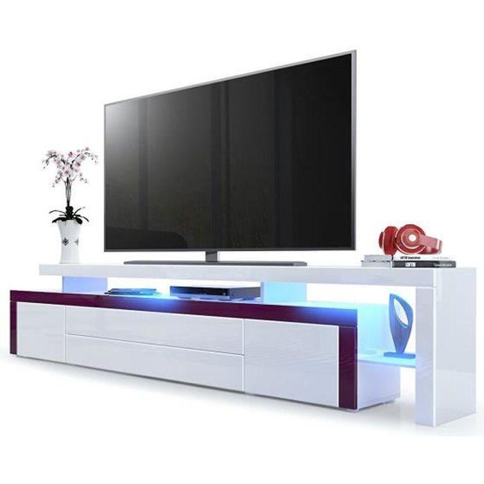 Meuble tv Mûre / Blanc laqué 227 cm avec led