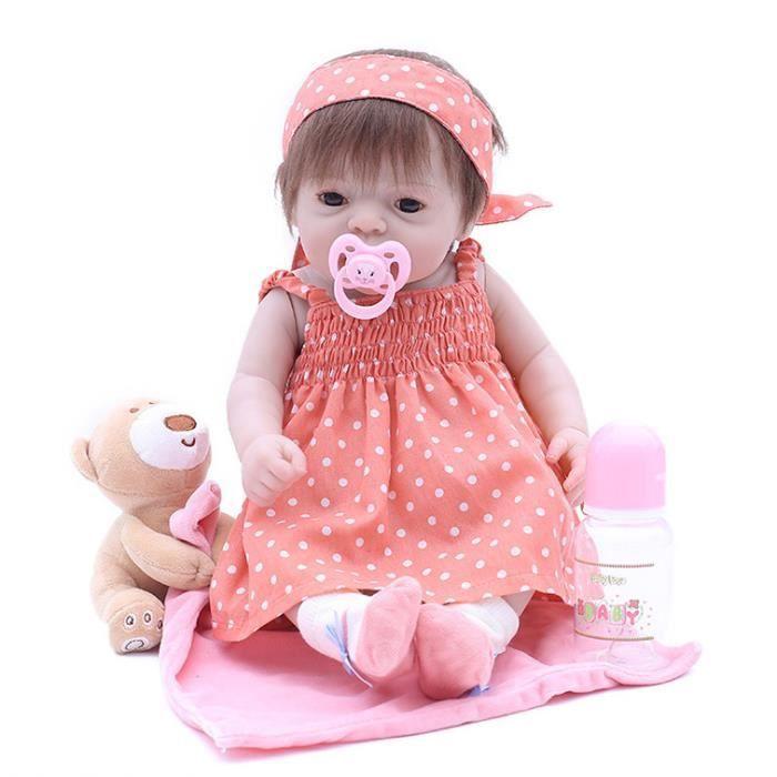 46 cm Reborn Poupée À La Main Plein Silicone bebe reborn fille Poupée Boneca Dans Mignon Vêtements faux bébé poupées