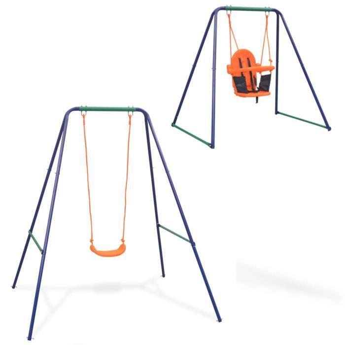 Balançoire - Portique Enfant - Aire de Jeux simple 2-en-1 et Balançoire - Portique Enfant - Aire de Jeux pour tout-petits Orange