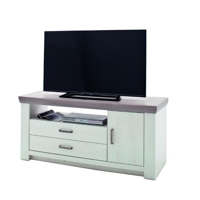 Meuble TV en pin blanc et chêne Neslon - L.180 x H.66 x P.56 cm