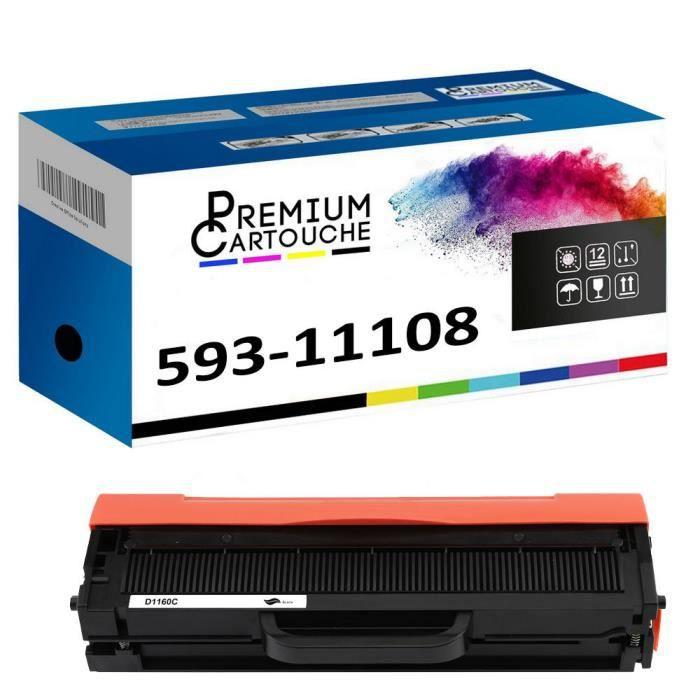 Toner 593-11108 HF44N Noir Compatible pour Dell B1100 Series B1160 B1160w B1163w B1165nfw Dell B1100 Series B1160 B1160w B1163w B116