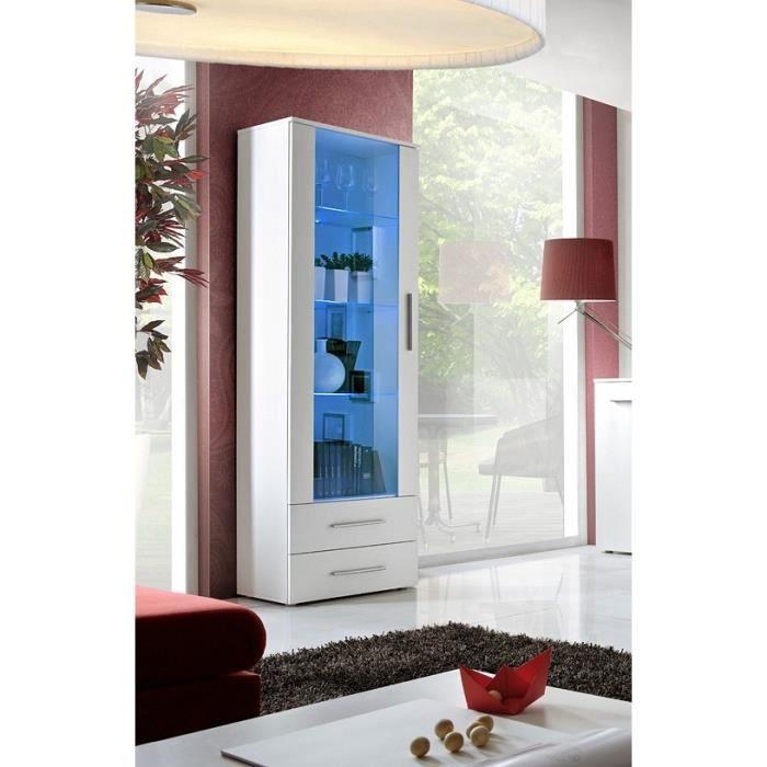 Vitrine NEO I design, coloris blanc mat + LED. Meuble moderne et tendance pour votre salon. 40 Blanc