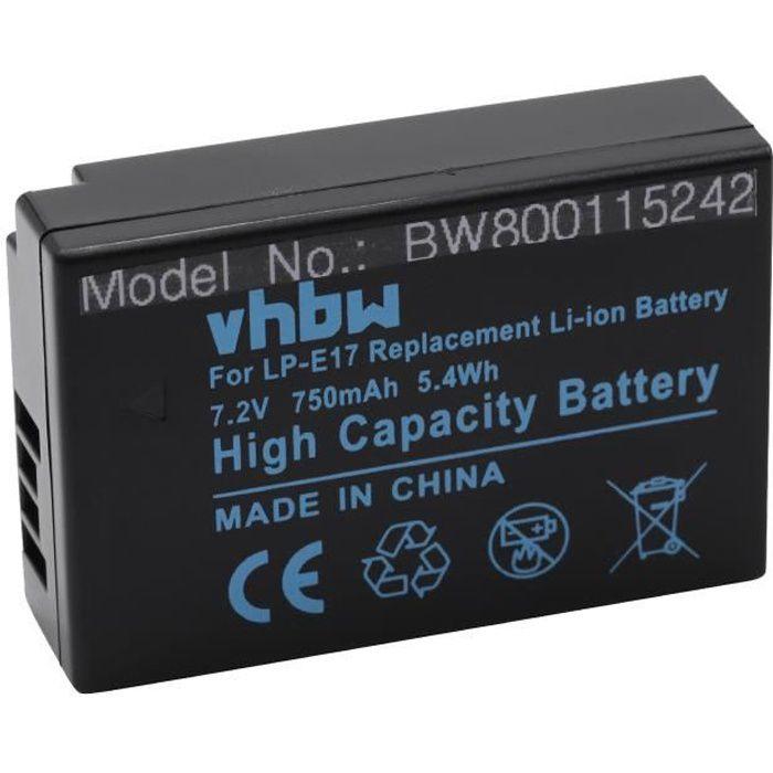 vhbw Batterie compatible avec Canon EOS 200D, 250D, 750D, 760D, 77D, 8000D, 800D, 850D appareil photo digital reflex APRN (750mAh,