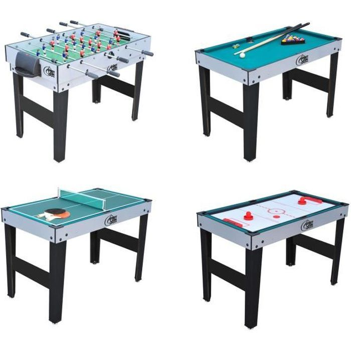 Sport and fun table de jeux 4 en 1 avec pied ping pong baby foot billard - Table multi jeux enfant ...