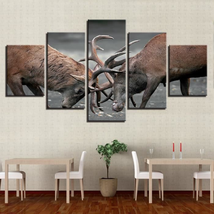 TABLEAU - TOILE Toile tableaux imprimés 5 pièces animaux bois cerf