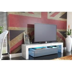 meuble tv design laqu blanc et gris non bla achat vente meuble tv meuble tv design. Black Bedroom Furniture Sets. Home Design Ideas
