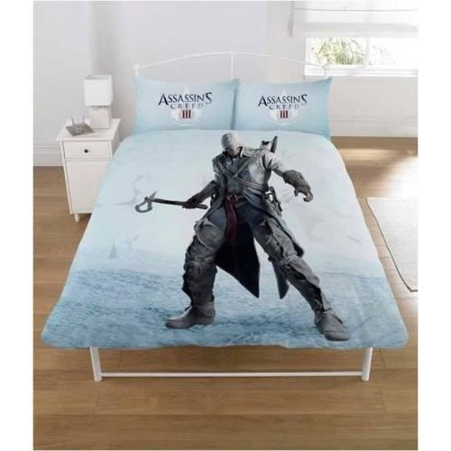 assasins creed iii parure de couette lit 2 places achat vente parure de couette cdiscount. Black Bedroom Furniture Sets. Home Design Ideas