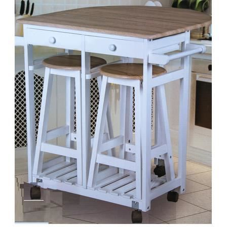 Table cuisine bar sur roulettes 2 tabourets achat for Achat table bar