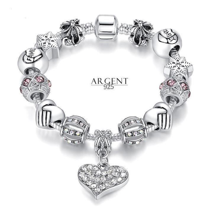 BRACELET - GOURMETTE 21 cm Bracelet Style Pandora Charm Coeur Cristal A