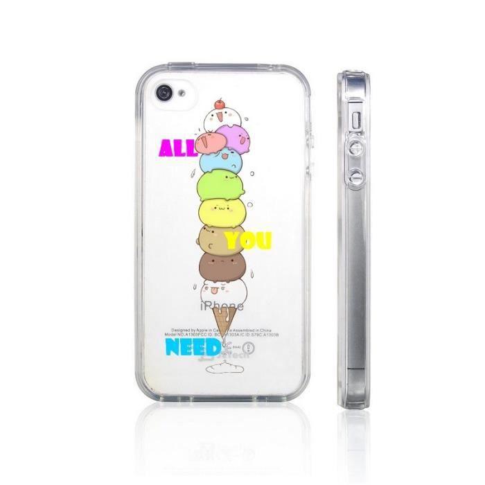 Coque Iphone 4 4S all you need glace ice cute kawaii emojii ...