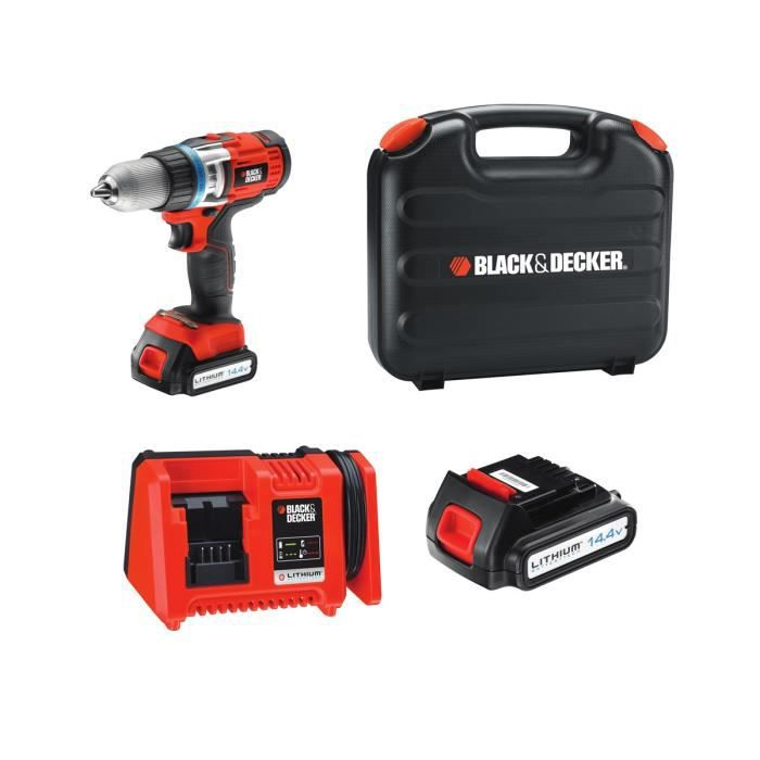 black decker perceuse sans fil lithium 14 4v avec 2 batteries 1 5ah achat vente perceuse. Black Bedroom Furniture Sets. Home Design Ideas