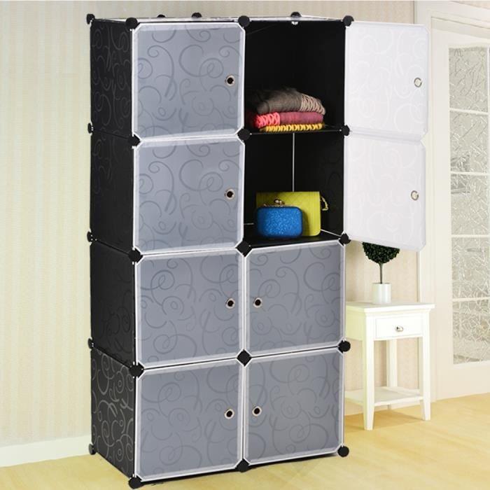 nouvelle mode meuble amovible armoire bricolage en plastique 8 stockage en cubes tag re armoire. Black Bedroom Furniture Sets. Home Design Ideas