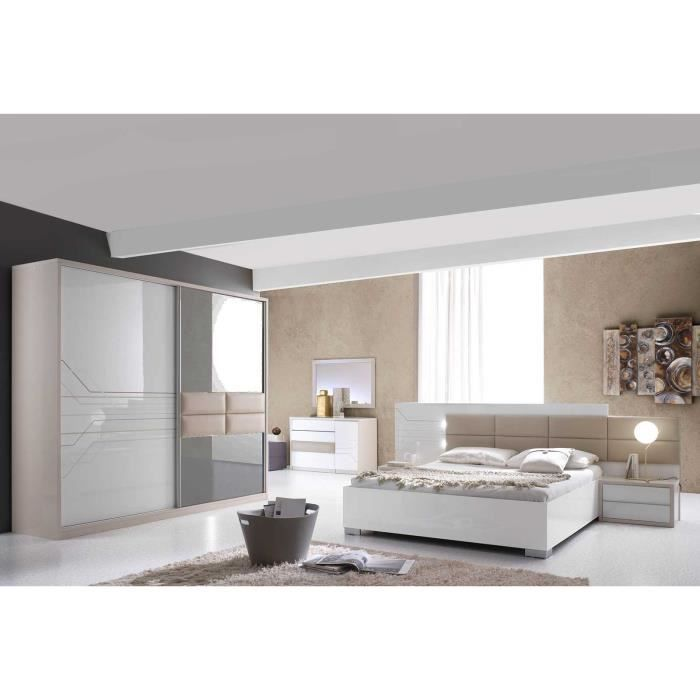cool chambre complte thomas laque blanc et beige ensemble. Black Bedroom Furniture Sets. Home Design Ideas